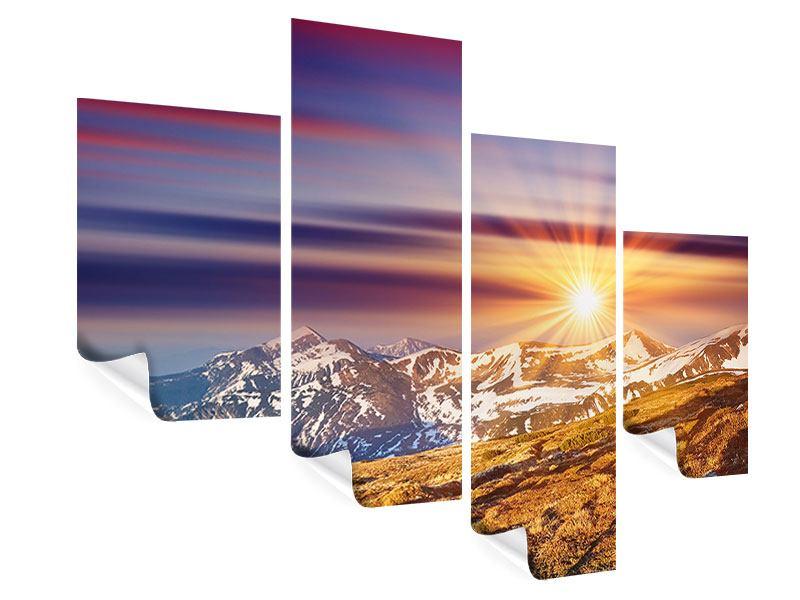 Poster 4-teilig modern Majestätischer Sonnuntergang am Berggipfel