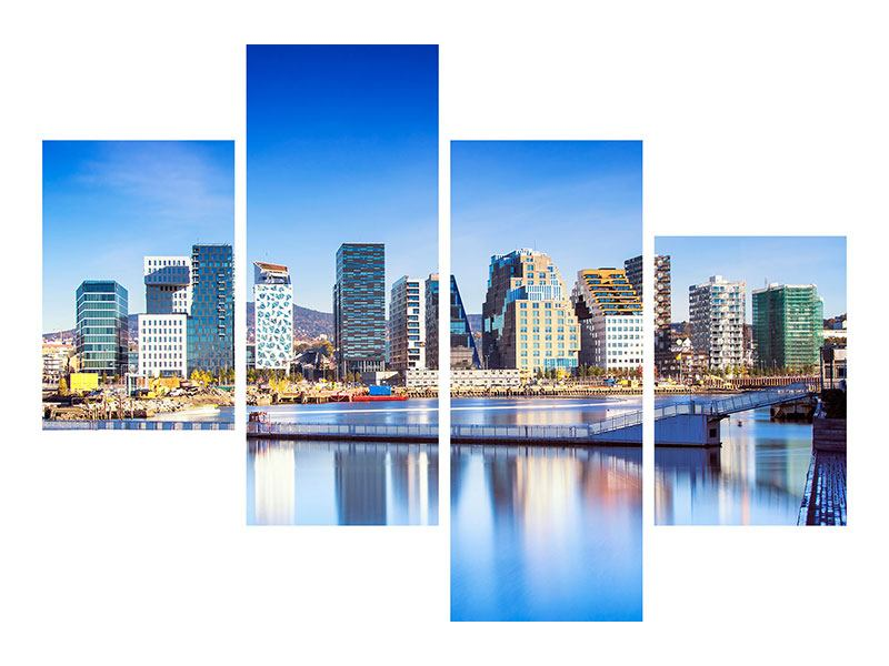 Poster 4-teilig modern Skyline Oslo