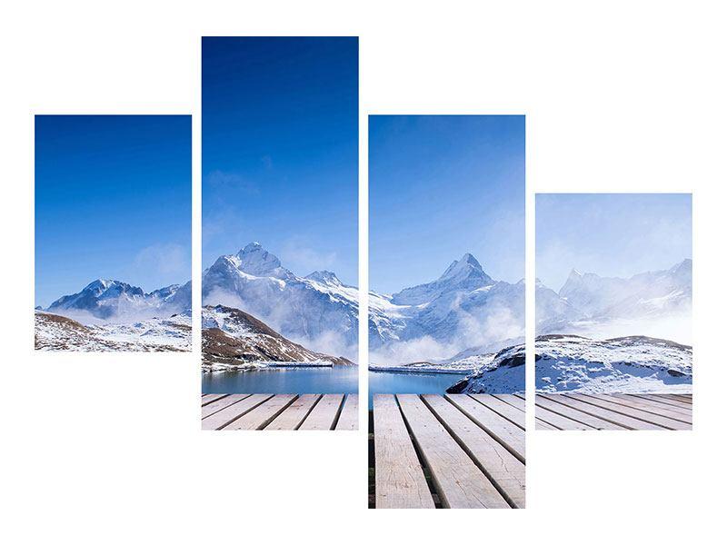 Poster 4-teilig modern Sonnenterrasse am Schweizer Bergsee