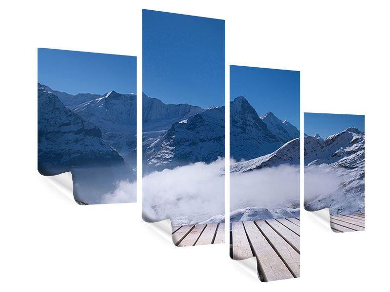 Poster 4-teilig modern Sonnenterrasse in den Schweizer Alpen