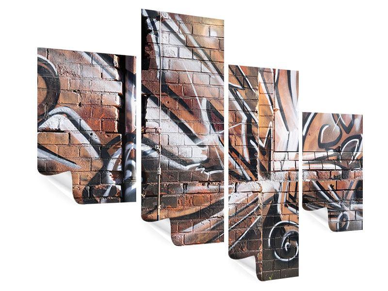 Poster 4-teilig modern Graffiti Mauer
