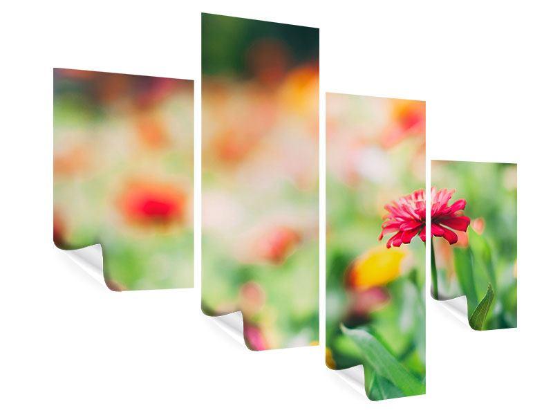 Poster 4-teilig modern Im Blumengarten
