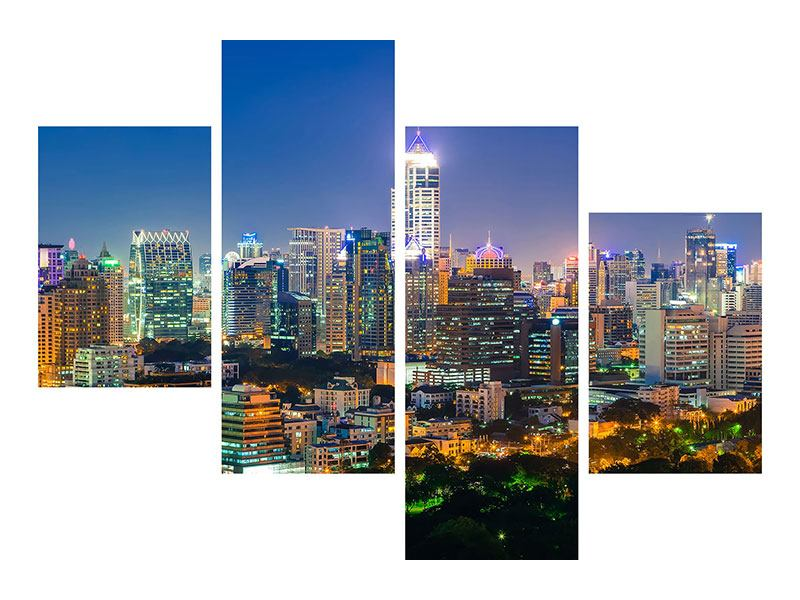 Poster 4-teilig modern Skyline One Night in Bangkok