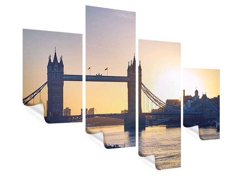 Poster 4-teilig modern Tower Bridge bei Sonnenuntergang