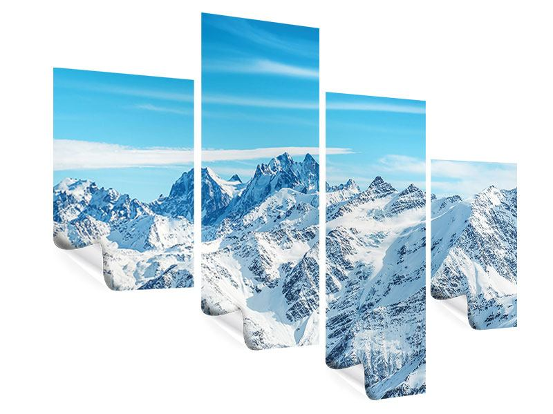 Poster 4-teilig modern Alpenpanorama