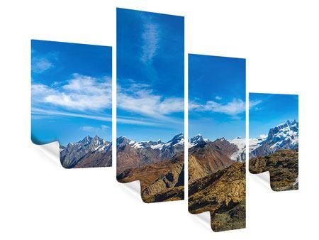 Poster 4-teilig modern Schweizer Alpen im Frühling