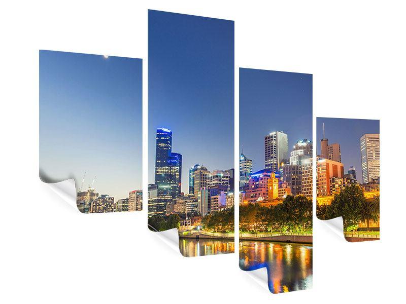 Poster 4-teilig modern Skyline Sydney in der Abenddämmerung