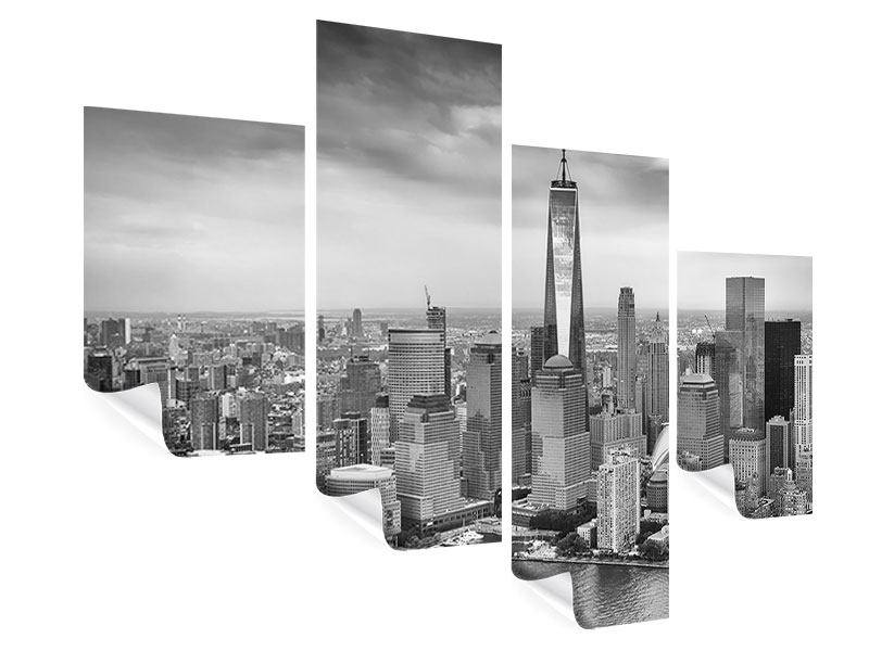 Poster 4-teilig modern Skyline Schwarzweissfotografie New York