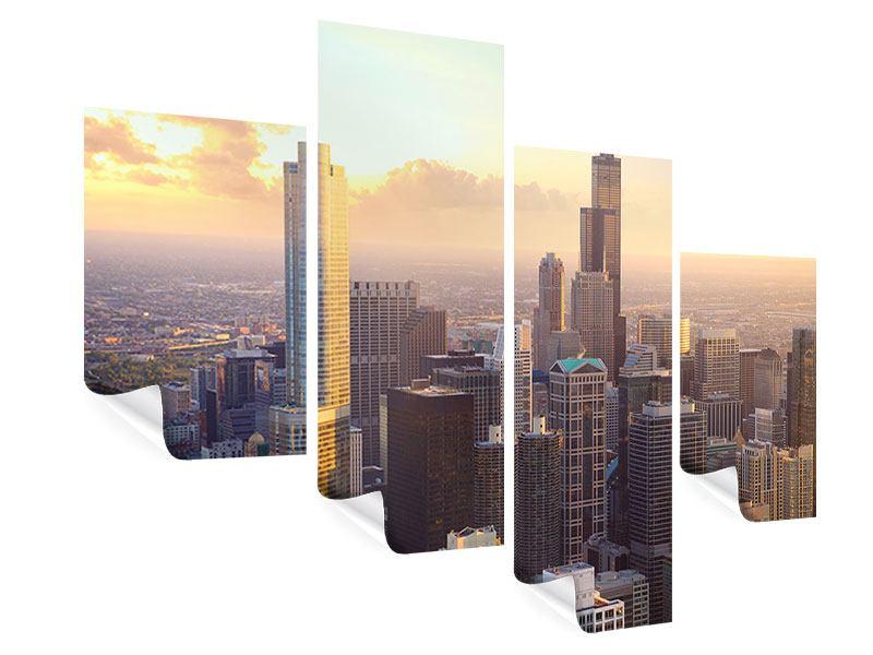 Poster 4-teilig modern Skyline Chicago