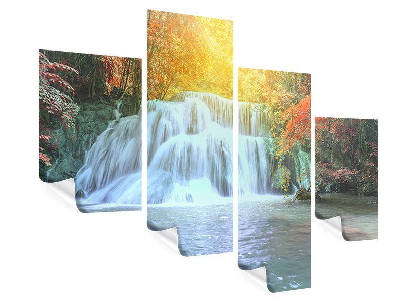 Poster 4-teilig modern Wasserfall im Licht