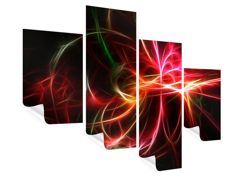Poster 4-teilig modern Fraktales Lichtspektakel