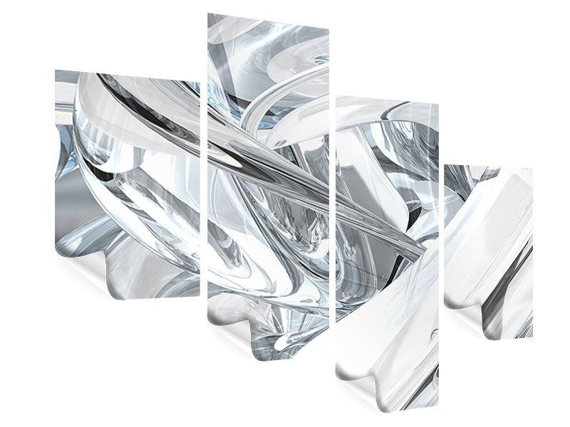 Poster 4-teilig modern Abstrakte Glasbahnen