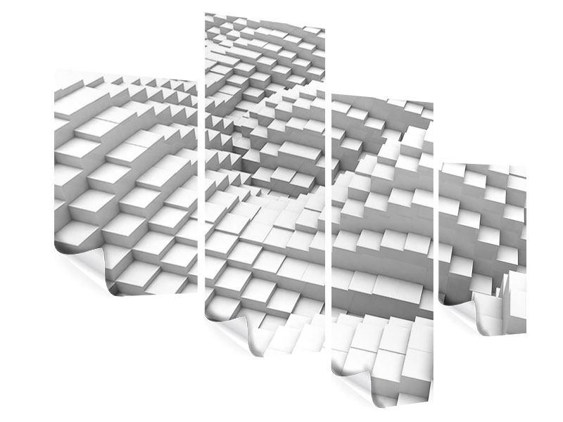 Poster 4-teilig modern 3D-Elemente