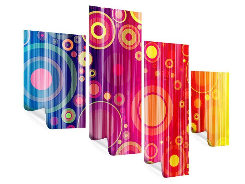 Poster 4-teilig modern Grunge-Retrokreise