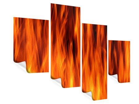 Poster 4-teilig modern Feuer Close Up