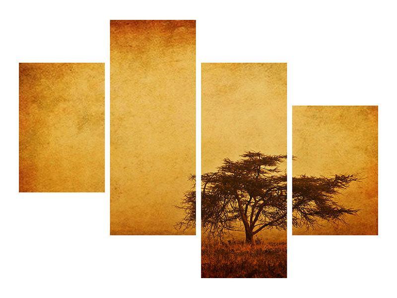 Poster 4-teilig modern Sonnenuntergangsstimmung