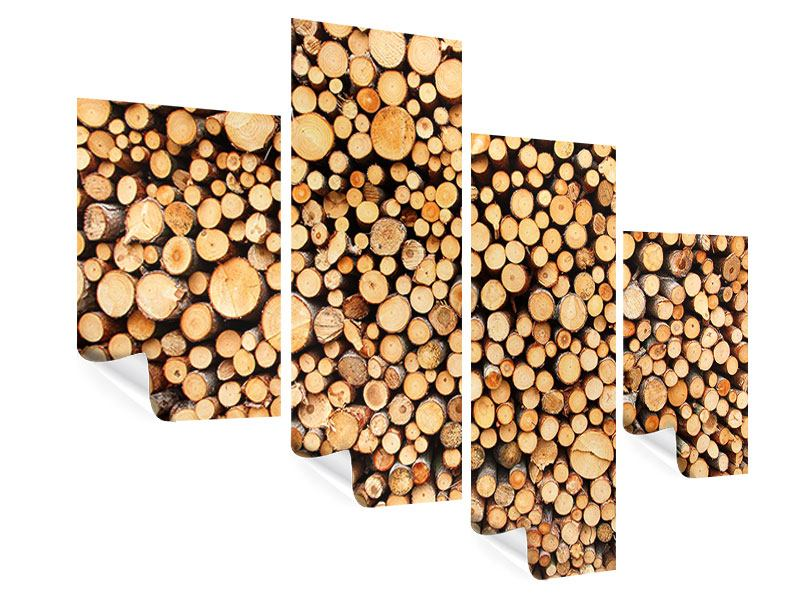 Poster 4-teilig modern Holzstämme