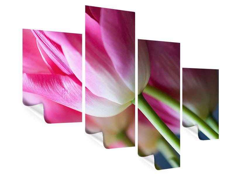 Poster 4-teilig modern Makro Tulpen
