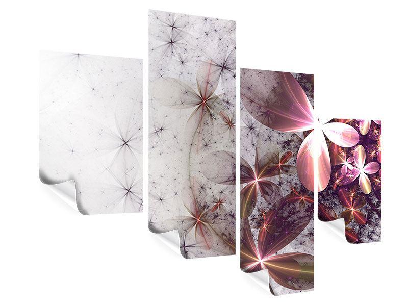 Poster 4-teilig modern Abstrakte Blumen