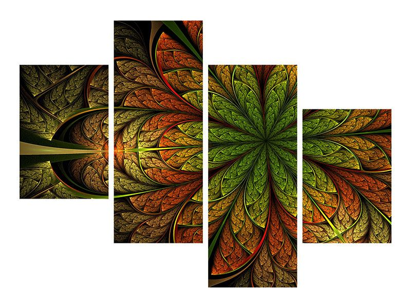 Poster 4-teilig modern Abstraktes Blumenmuster