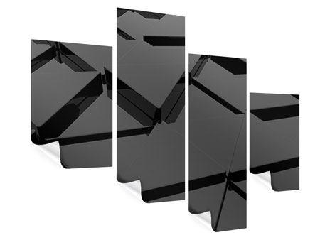 Poster 4-teilig modern 3D-Dreiecksflächen