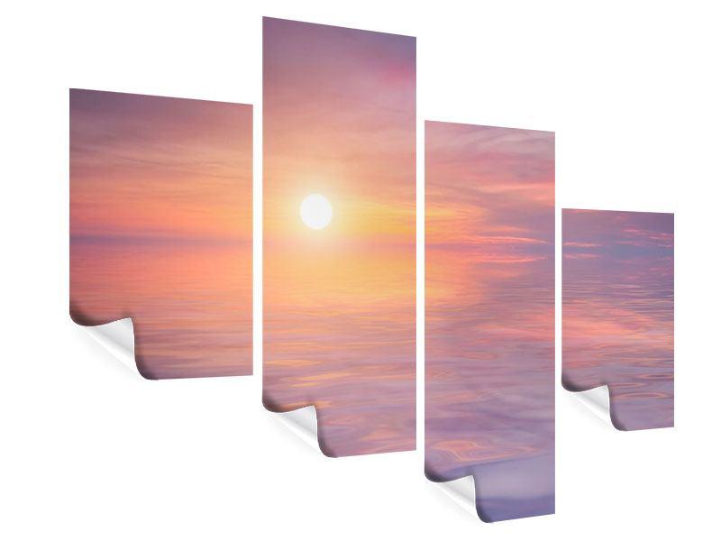 Poster 4-teilig modern Sonnenuntergang auf See