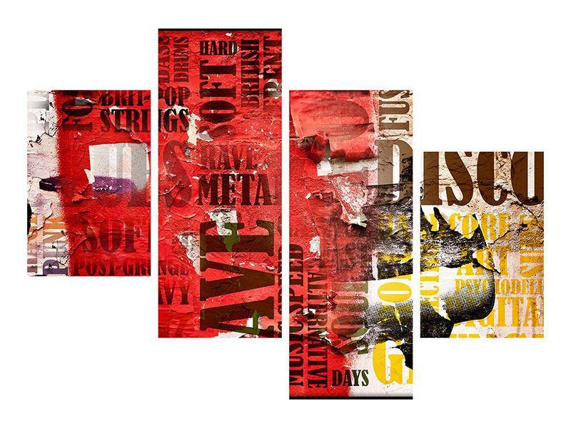 Poster 4-teilig modern Musiktext im Grungestil