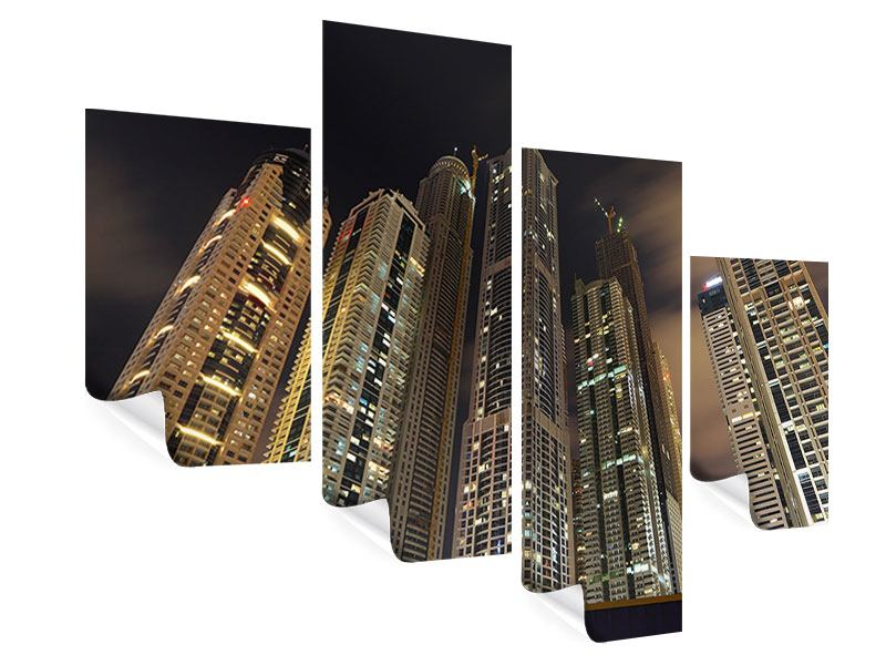 Poster 4-teilig modern Wolkenkratzer Dubai Marina