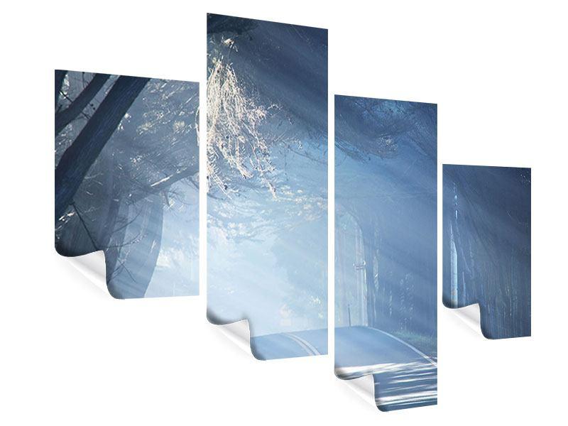 Poster 4-teilig modern Lichtdurchflutete Baumallee