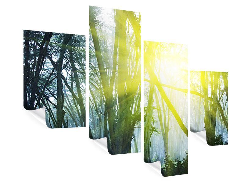 Poster 4-teilig modern Sonnenstrahlen im Wald