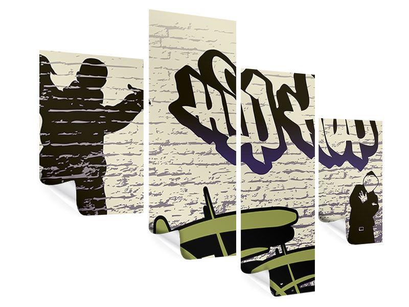 Poster 4-teilig modern Graffiti Hip Hop