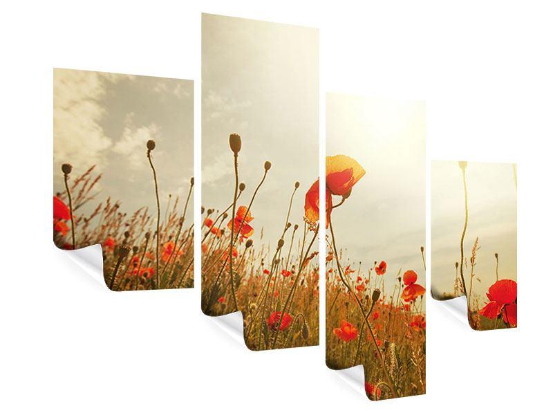 Poster 4-teilig modern Das Mohnfeld bei Sonnenaufgang