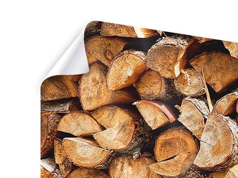 Poster 4-teilig modern Gestapeltes Holz