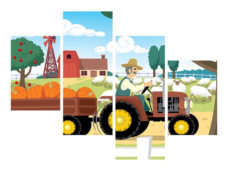Poster 4-teilig modern Bauernhof