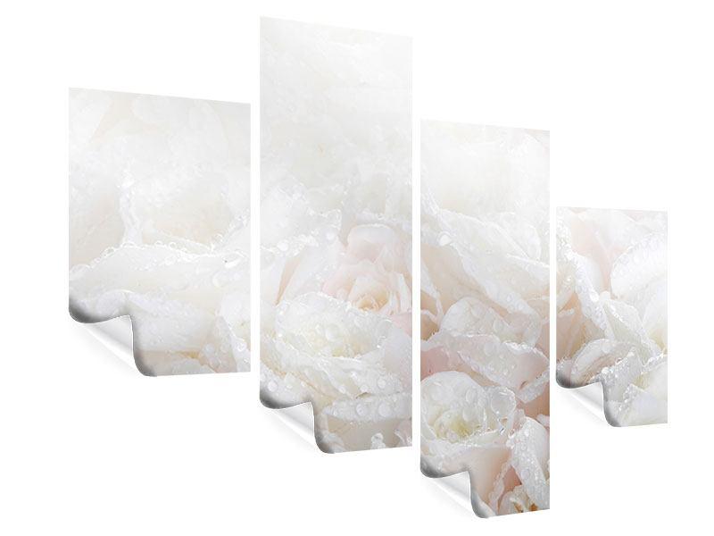 Poster 4-teilig modern Weisse Rosen im Morgentau