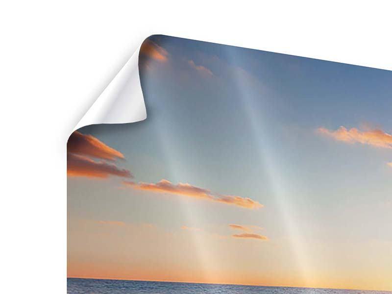 Poster 4-teilig modern Sonnenuntergang am Horizont
