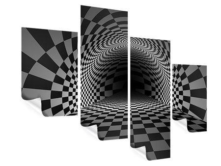 Poster 4-teilig modern Abstraktes Schachbrett