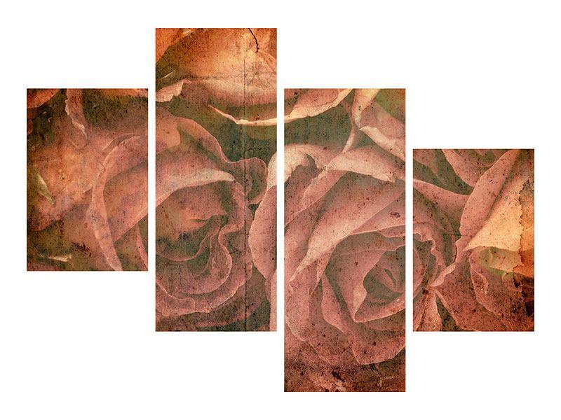 Poster 4-teilig modern Rosenbukett