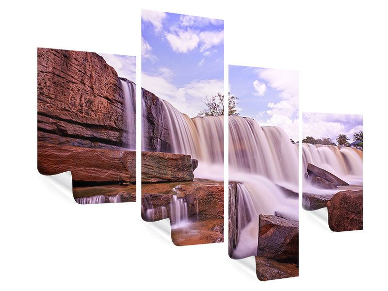 Poster 4-teilig modern Himmlischer Wasserfall