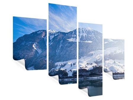 Poster 4-teilig modern Winterwunderland
