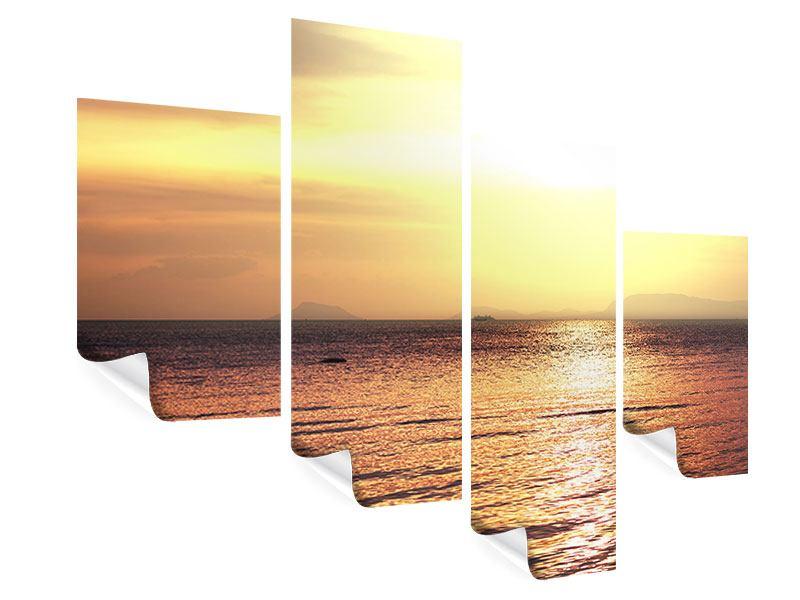 Poster 4-teilig modern Sonnenuntergang an der See