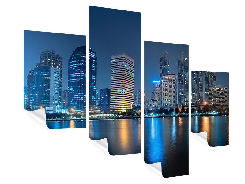 Poster 4-teilig modern Skyline Bangkok bei Nacht