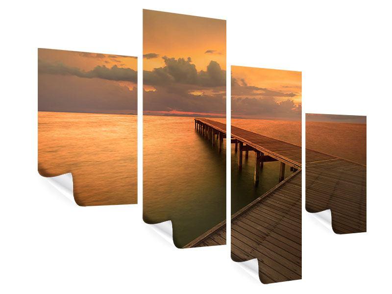 Poster 4-teilig modern Der Steg am Meer