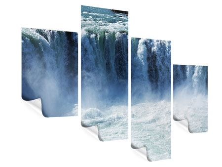 Poster 4-teilig modern Mächtiger Wasserfall