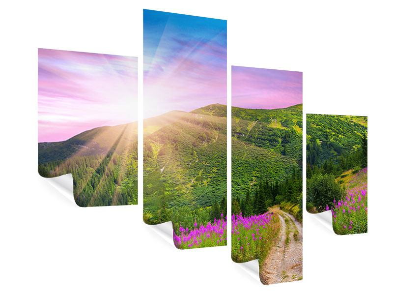 Poster 4-teilig modern Eine Sommerlandschaft bei Sonnenaufgang
