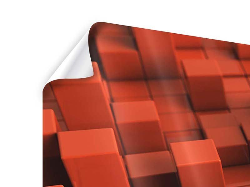 Poster 4-teilig modern 3D-Rechtkant