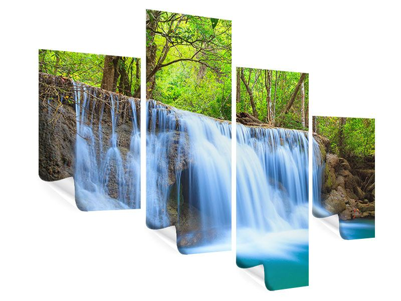 Poster 4-teilig modern Wasserfall Si Nakharin