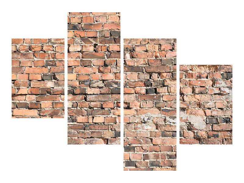 Poster 4-teilig modern Alte Backsteinmauer