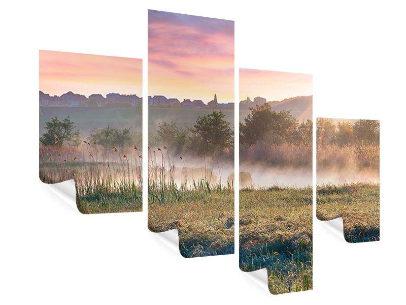 Poster 4-teilig modern Sonnenuntergang am Hügel