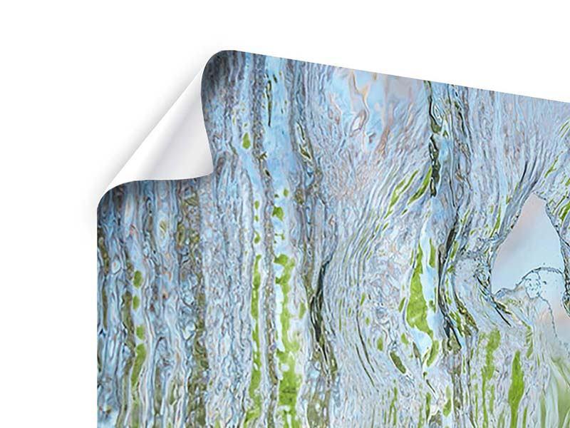 Poster 4-teilig modern Hinter dem Wasserfall